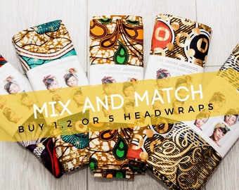 Mix and Match Print headwraps | Multi Pack Wax print Head wrap | Ankara Print headscarf | African wax print m | Turban Scarf