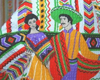 Mexican border print fabric vintage Novelty fabric folkloric Mexico Spanish Folk Dancers 70s seersucker border hippie fabric novelty print