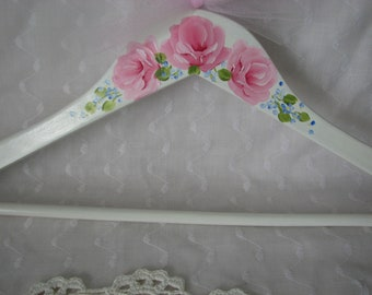Clothes Hanger Soft White Hand Painted Pink Roses Adult Size Dress Wedding Hanger