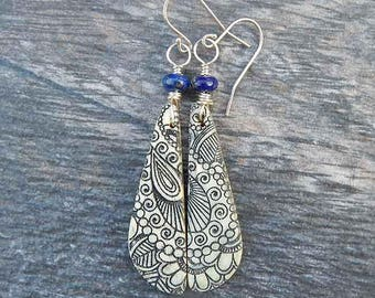 Bone and Lapis Teardrop Earrings with Paisley Design and Sterling Silver Wire - Wire Wrapped Dangle Earrings with Henna or Mehndi Design