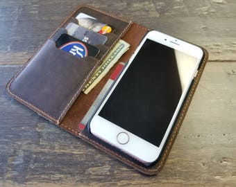 PERSONALIZED iPhone Wallet Case, Phone Wallet, Custom Top Grain Leather Case, iPhone 6S, 6S Plus, 6, 6 Plus, 7 Plus, 8 Plus, 8, iPhone X