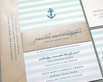 Josseline Nautical Wedding Invitation Sample with Belly Band - Aqua Mint Ombre Stripes, Navy Anchor, Metallic Sand Envelope