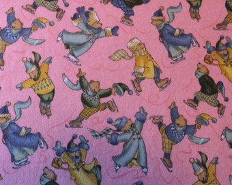 42 X 20 Skating Bears Print on Bright Pink Cotton Flannel Fabric Remnant