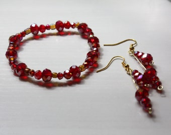Red Beaded Jewelry Set   Earrings   Bracelet