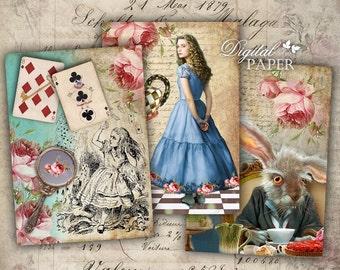 Alice in Wonderland - digital collage sheet - set of 6 - Printable Download