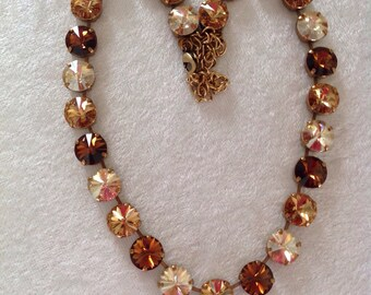 12mm Swarovski crystal necklace -BROWN necklace- choker- supporting cancer awareness- bracelet and earrings available-