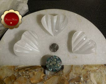 Selenite Heart, Large Selenite Heart, Crystal Healing, Gemstone Hearts, Carved Puff Heart, Remove Negative Energy, Great for Empaths