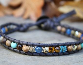 Single Wrap Bracelet, Beaded Wrap Bracelet, Blue Brown, Beaded Wrap Bracelet, Vegan Wrap Bracelet, Cruelty Free Jewelry, Stone Bracelet,