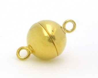 Gold Plated Sterling Silver Magnetic Clasp - Silver Magnetic Ball Toggle Clasp - 8mm Ball Clasp-  Sku: 202120-VM