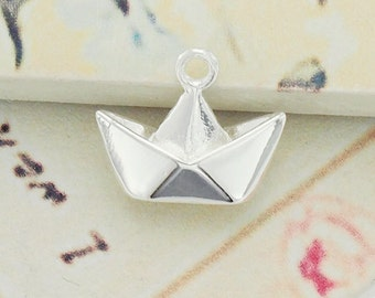 1 of 925 Sterling Silver Origami Boat Pendant  10x14mm. Polished Finish. :tm0063