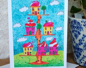 Cupcake Town Greeting Card, Blank Card, Note Card, Cake Art, Greeting Card, Colourful Card, Quirky Card, All Occasions Greeting Card