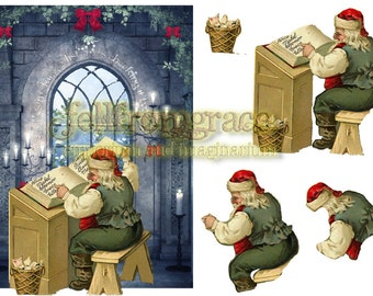 Printable - Vintage collage Christmas santa card with 3d decoupage set - Instant download