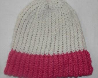 Alpaca Hat - 100% Alpaca - White with Pink Brim