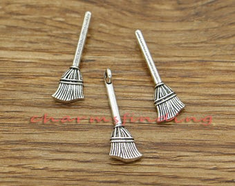 30pcs Broom Charms Witch Charm Antique Silver Tone 9x27mm cf3152