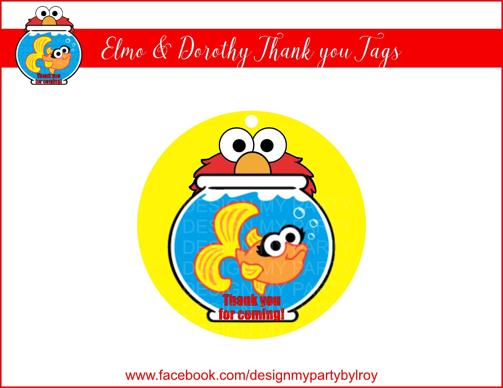 Elmo Fish Tank Elmo Thank you Tags Instant Download Sesame