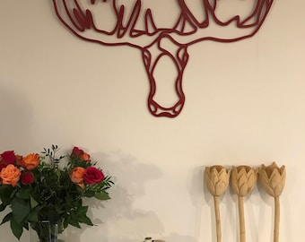 Moose head wall decoration - wall hanging - wooden wall decoration