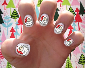 Santa Claus // Christmas // St. Nick // Holidays // Winter  Nail Decals Transfer Nail Stickers //