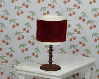 Doll house vintage SUFA table lamp 1970s Sweden burgundy brass