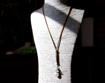 Natural Agate Botswana Lariat Necklace & Celtic Knot, Agate Gift, Agate Pendant, Agate Botswana Gemstone Lariat, Long Necklace Gift for Her