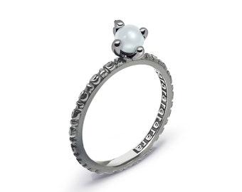White Pearl Silver Ring - Plain Rarara, Stackable Ring, White Pearl Jewelry, White Pearl Ring, White Pearl Ring Silver, Stack Rings