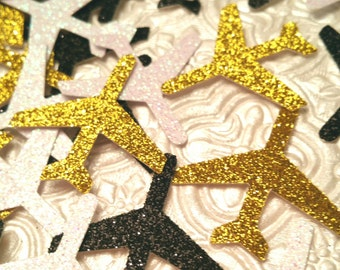 Airplanes! Glitter plane confetti die cuts table scatter decor for pilot flight attendant birthday party favor decor