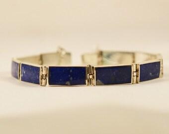 Bracelet en argent et grands rectangles en lapis lazuli