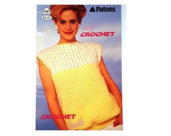 Easy Crochet Pattern Booklet Beehive Patons 498 Sweaters Pullovers Vests Tops Crochet Facile Jumper V-Neck Women Men Teen Slipover Patterns