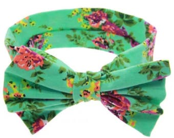 Mint floral headband