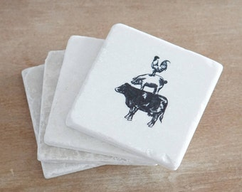 Marble Farm Animal Coasters/Marble Farmhouse coasters/Farmhouse Kitchen Decor/Marble Coasters/ Farm Animal Coasters /Farm style/Farm Animals