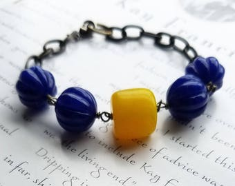 cobalt blue and yellow bracelet with bronze links - african and vintage beads with bronze metal - chunky bold bracelet - luo bracelet