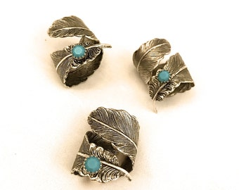 Feather Thumb Ring, Feather Ring with Turquoise Stone, Steampunk Ring, Feather Wrap Ring, Boho Feather Ring, Thumb Ring, Plume Ring