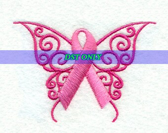 Pink Breast Cancer Awareness Ribbon Butterfly - Embroidery Design - Instant Digital Download DST ONLY