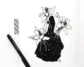 Columbine Flower Fantasy Illustration Art Print, Giclee Art Print, Gift Ideas for Women, Gift for Her Under 25