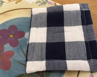 Urban UnSponge, Dish Cloth, Eco Friendly Reusable Washable Sponge, Blue White Buffalo Gingham, Order as Many as you Need, by CHOW with ME