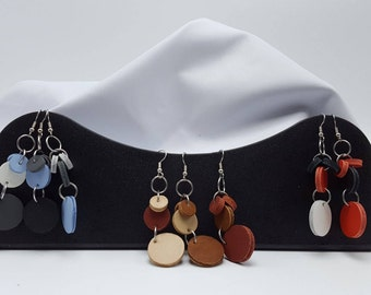 Leather Dot Earrings - Various Colors