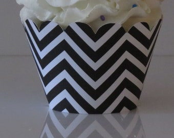 15 BLACK and WHITE Chevron Cupcake Wrappers... Fully Assembled, Mickey Mouse, Minnie Mouse, Lady Bug, Bridal Shower, Wedding, Baby Shower