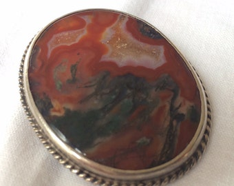 Agate Brooch, Vintage with Silver Frame