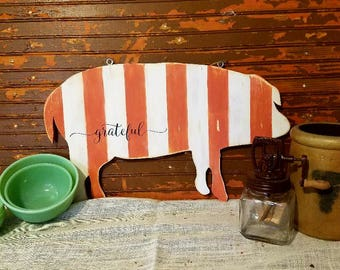Farmhouse decor, Country Decor, Primative decor, Home decor, Pig decor