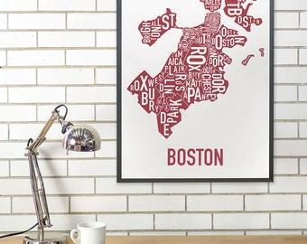 Boston Typography Neighborhood Map Poster, Original Artist of Type Map Designs, Boston Map Poster, Boston Artwork, Boston Gift