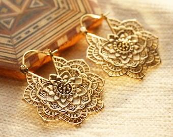 Flower Mandala Earrings in Brass-Tribal earrings lotus-Gyspy gold Earrings-Gold Boho earrings-Flower tribal hoops-Festival earrings-ZINNIA