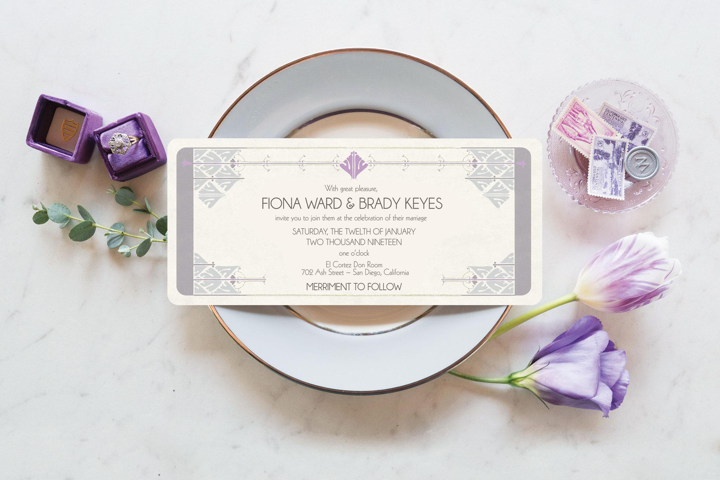 Art Deco Wedding Invitation Ultraviolet Wedding Invitation