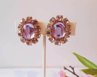 Lavender Earrings, Vintage Earrings, Joan Rivers Earrings, Sparkly Earrings, Vintage Joan Rivers, Clip Earrings