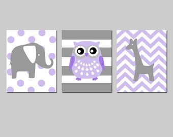 Purple Nursery Art Purple Nursery Wall Art Purple Nursery Decor Lavender Nursery Art Set of 3 Elephant, Owl, Giraffe - CHOOSE YOUR COLORS