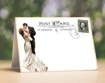 Wedding Place Cards Vintage Bride & Groom Postcard Tent Style Place Cards or Table Place Cards #188