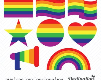 Rainbow Symbols SVG Files, Gay Pride Cutting Files, Gay Flag Symbols Silhouette Cricut Files, Vinyl Decal Vector, dxf eps png jpg pdf, D/022