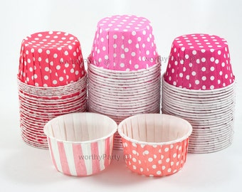 PINK CORAL FUCHSIA Polka Dots/Stripes Candy Nut Portion Cups- Greaseproof Cupcake/Muffin Baking Cups (24 Count)