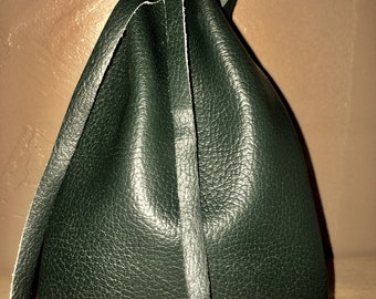 Dark Green Leather Pouch - Dice Bag - Coin Pouch
