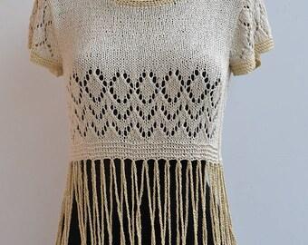 Linen blouse, linen t-shirt, knittet blouse, knitted top, linen top, beach top, summer blouse, cover up, knit blouse, women tunic, sweater