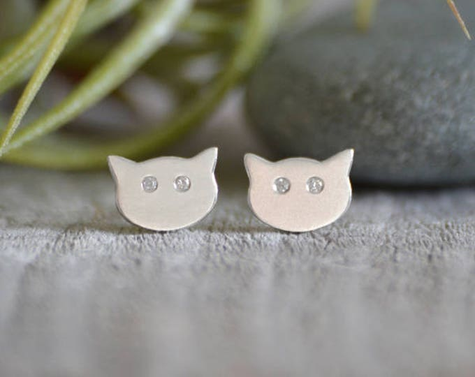 Cat Earring Stud With Diamond Eyes, Kitten Stud Earrings With Diamond Eyes, Handmade in the UK