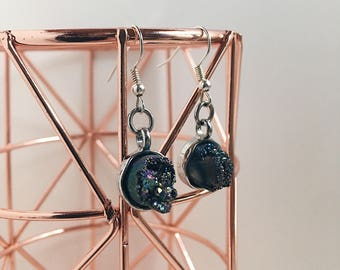 Holographic geode earrings